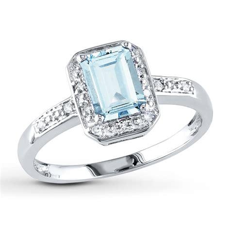 aquamarine ring  ct tw diamonds  white gold  kay