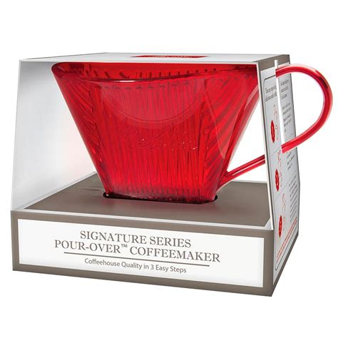 The coffee is encapsulated in a mesh filter cup which allows the user to see and smell their. Melitta Pour Over Coffee Maker - Red   London Drugs