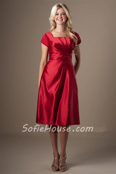 modest   square neck short sleeves red satin ruched