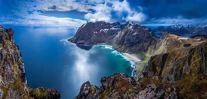 Norway Mountain Sea Landscape Lofoten Beach Nature