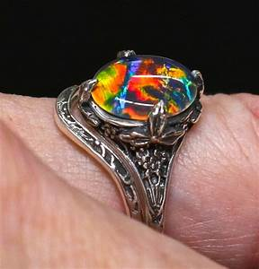 antique style opal engagement ring wedding by amykjewels With vintage opal wedding rings