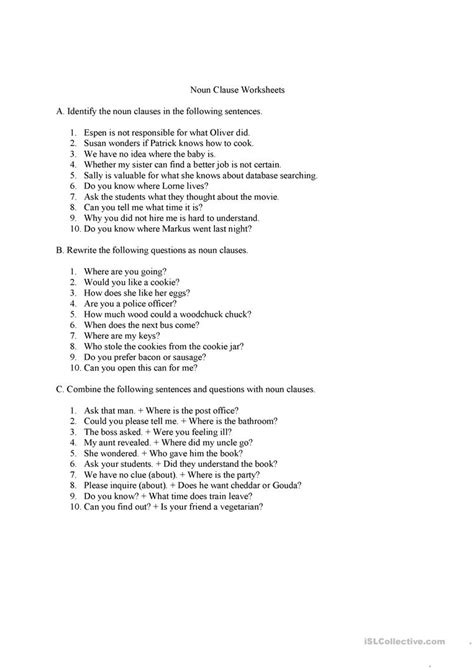 noun clauses questions and answers worksheet free esl printable worksheets made by teachers