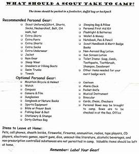 Boy Scouts Camping Checklist Resources Scout Troop 507 Winchester