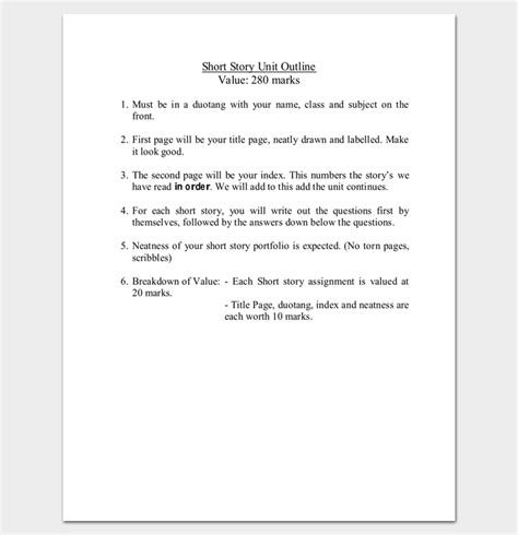 short story outline story outline template 15 for word and pdf format