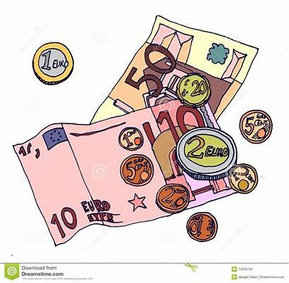 Money Notes Euro Cartoon Currency European Coins