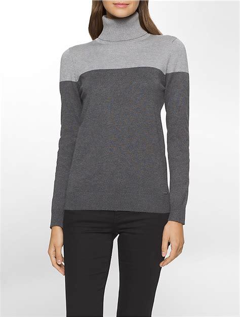 Calvin Klein Womens Colorblock Turtleneck Sweater Ebay