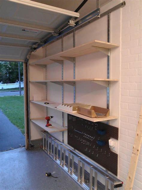 wall mounted garage shelving  images garage wall