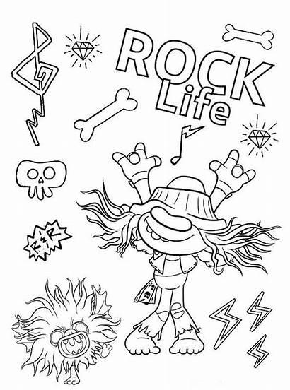 Trolls Coloring Rock Hard Tour Riff Kleurplaat