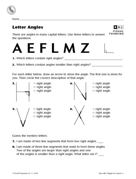 letter angles worksheet for 3rd grade lesson planet