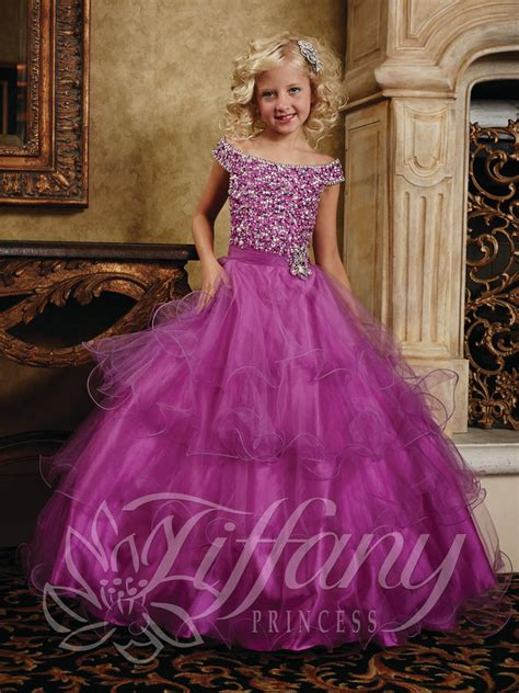 tiffany princess  girls cap sleeve ball gown french