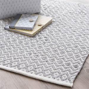 Tapis En Coton : tapis en coton gris 60 x 90 cm tavira maisons du monde ~ Nature-et-papiers.com Idées de Décoration