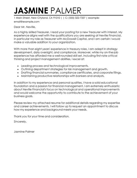 treasurer cover letter exles finance cover letter