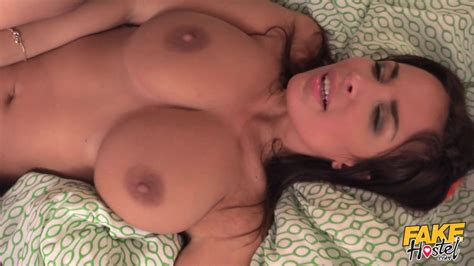 Fake Hostel Brunette Big Tits Milf Rides On The Cock Of