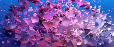 wallpaper cubes pink flying triangles hd abstract