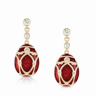 Earrings Faberge Diamond Gold Rose Egg Heritage