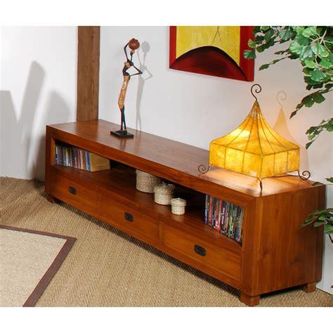 meubles et décoration de style exotique et colonial meuble tv 3 tiroirs gm teck meubles macabane meubles
