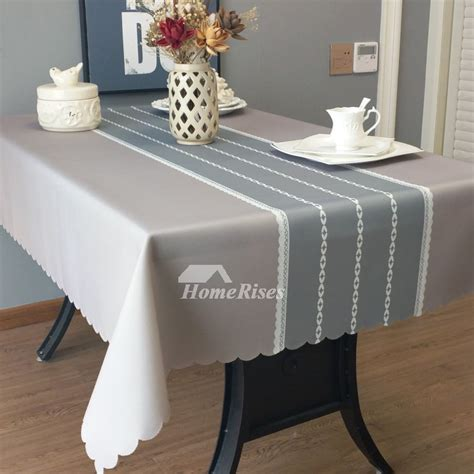 designer oblong tablecloth tealgreyblue fabric vintage