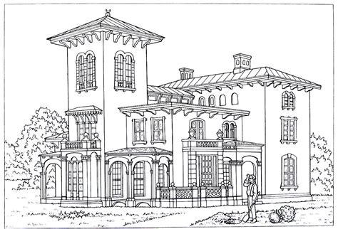 house printable coloring book page style is an