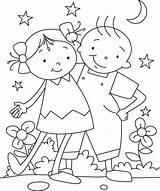 Coloring Friendship Bestfriend Fun Having sketch template