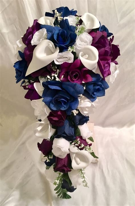Details About Navy Blue Lavender Rose Calla Lily Bridal
