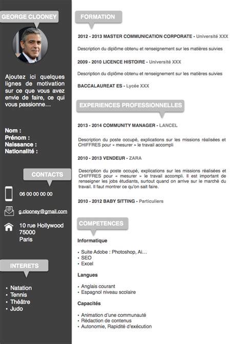 Formulaire De Cv En Francais by Modele Cv 2018