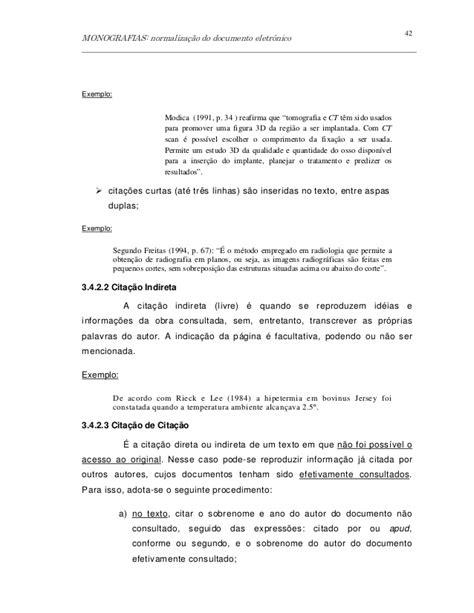 normas abnt formatando citações diretas longas normalizacao monografia bib iel 122008