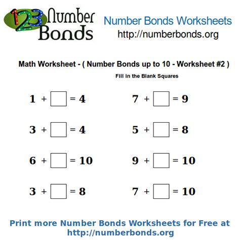 Number Bonds Math Worksheet Up To 10 Worksheet #2  Number Bonds Org
