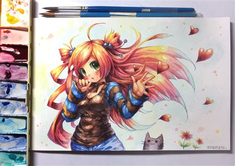 watercolor anime peachmaiden watercolor by emperpep on deviantart