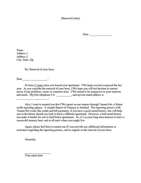 lease renewal letters forms word
