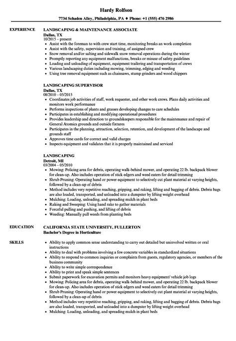landscaping resume sles velvet