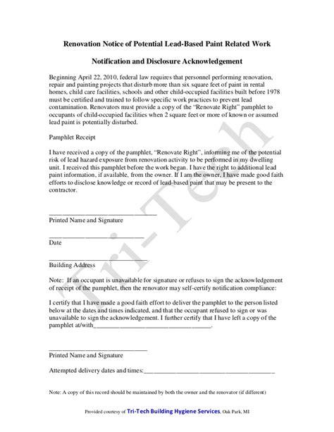 renovation notice  potential lead hazard general