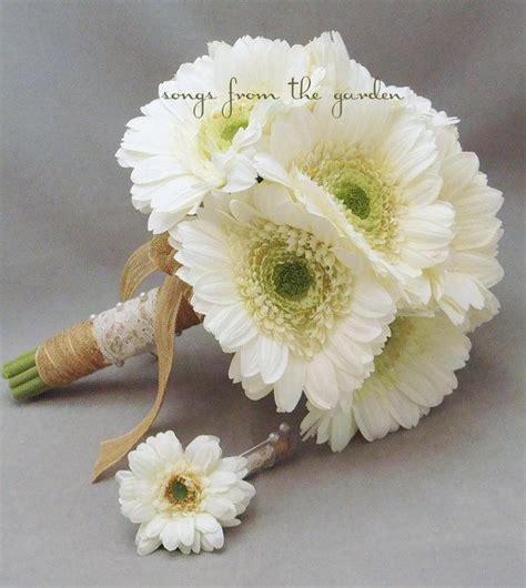 Lace Jute White Gerber Daisy Silk Flower Bridal Bouquet