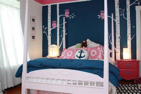 Pink And Navy Teen Girls Room  Transitional  Kids Richmond