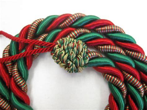 2 Rope Curtain Tiebacks Red & Green Slender Slinky Cord