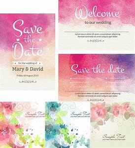 watercolor wedding cute cards vector free download With wedding invitation templates illustrator download free