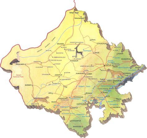 rajasthan map map  rajasthan political tourism