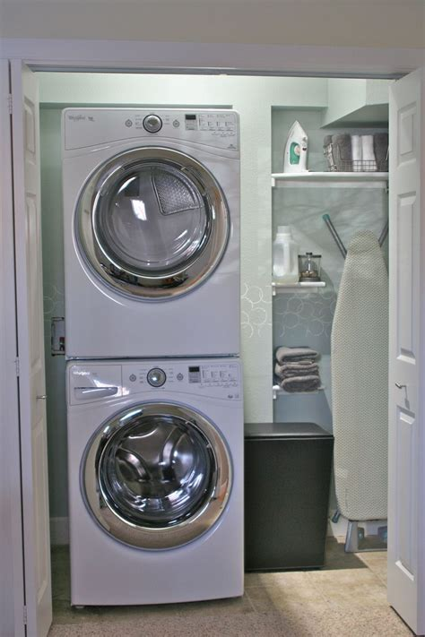 Monochrome House With Secrete Utility Room by Stacked Washer Dryer Laundry Room With Mud Room Design
