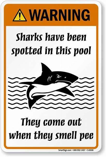 Sign Sharks Pool Humorous Warning Pee Smell