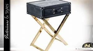 Chevet Metal Noir : table de chevet design noir et or similicuir et m tal int rieurs styles ~ Teatrodelosmanantiales.com Idées de Décoration