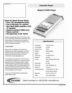Califone Economy 3112av 3112av 3112av Manuals