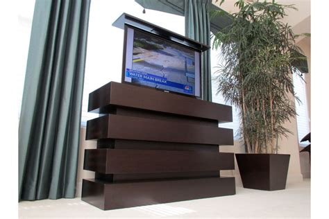 motorized tv lift cabinet le bloc custom modern pop up
