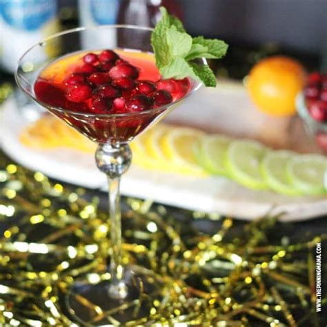 sparkling christmas cosmo cocktail cosmopolitan mocktail recipe the pinning