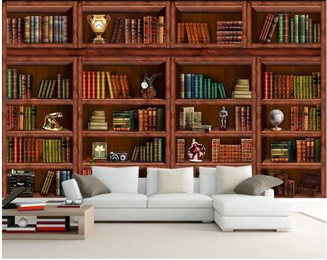 European Bookshelf Mural Wallpaper 3d Stereoscopic Study