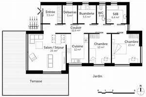 awesome plan maison plain pied passive contemporary With maison toit plat en l 1 maison en kit toit plat