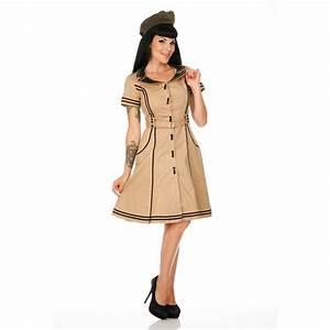 Retro Stil : damen kleid beige 50s vintage stil retro stewardess ~ Pilothousefishingboats.com Haus und Dekorationen