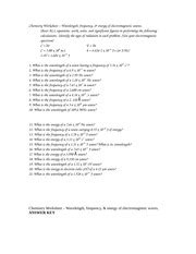 Wavelength Practice  ,frequency& Showallequations,work,units, Calculations( Spectrum C= E=h 8