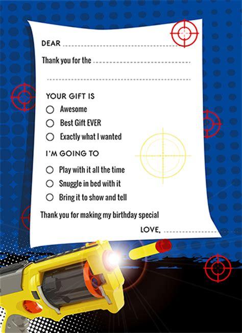 nerf gun birthday party fill    cards