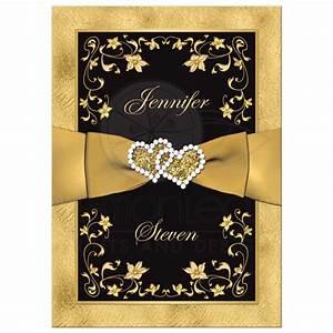 Wedding Invitation Black, Gold Floral, Scrolls PRINTED