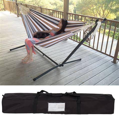 folding hammock chair eileen gray patio swing hammock bed steel stand includes
