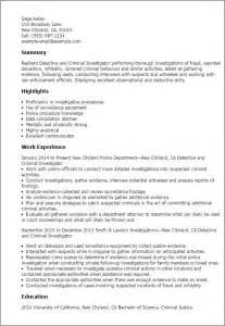 detective resume exles referees for resume